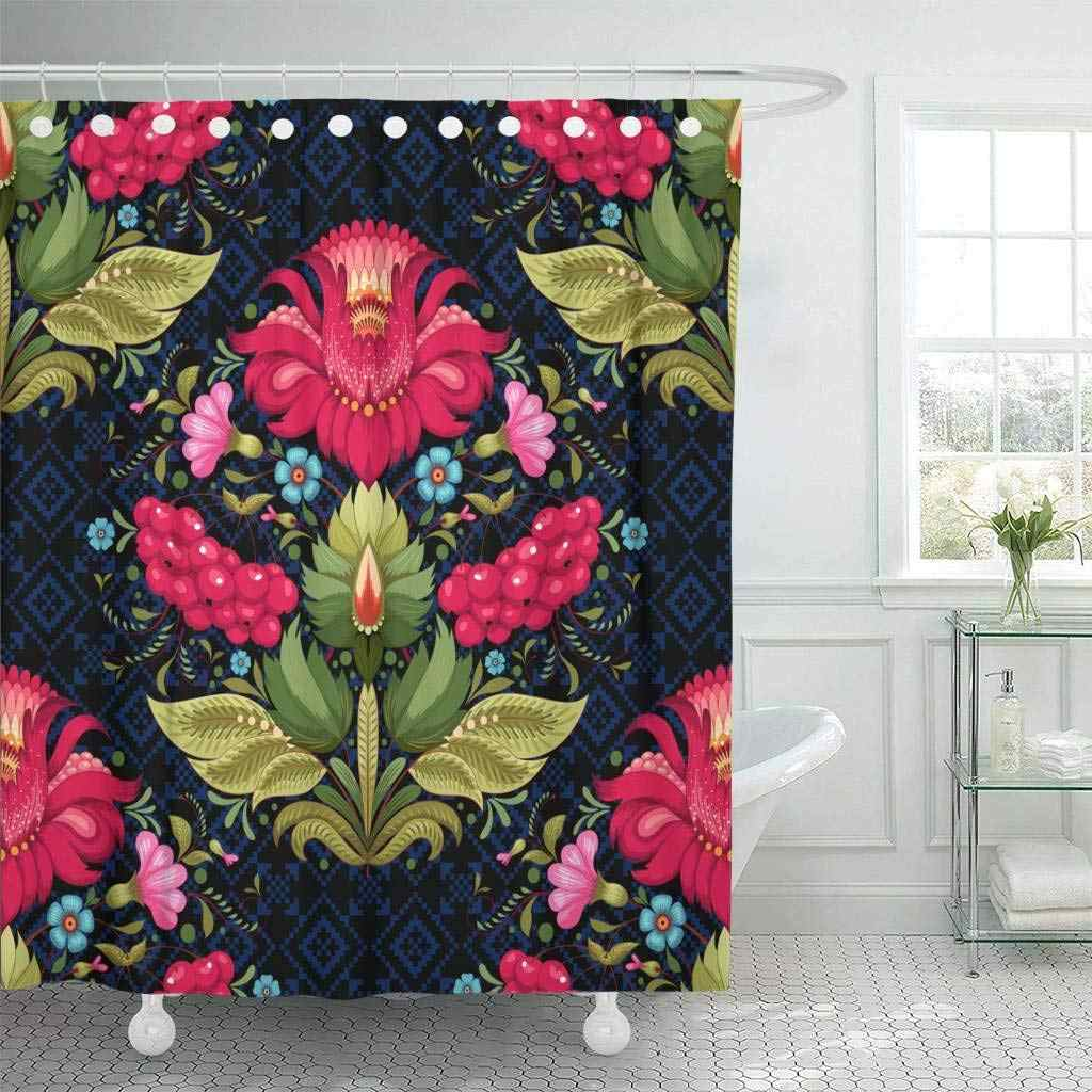 Shower Curtain Hooks Dark Floral Ukrainian Flower In The