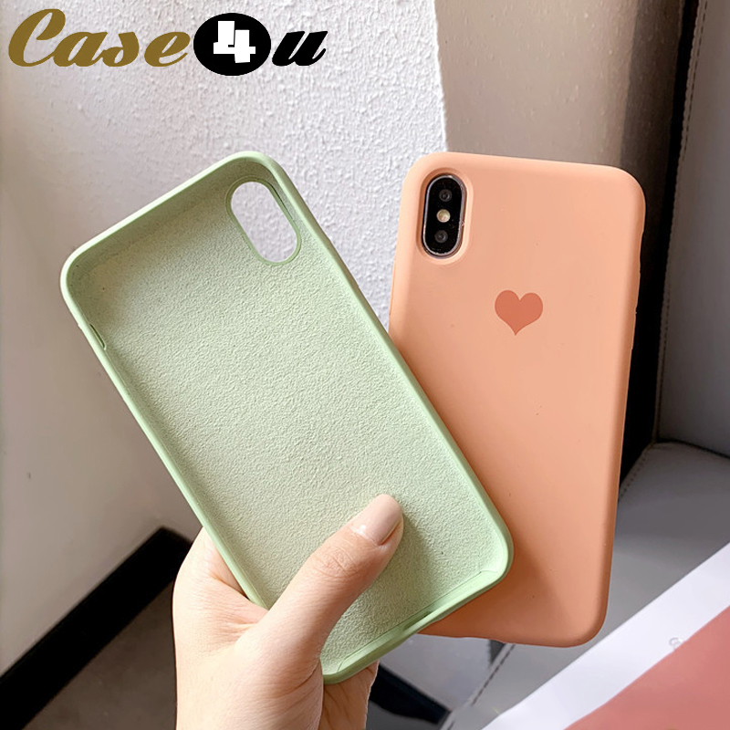 Love Heart Logo Liquid Silicone Phone Cases For iPhone XS MAX XR X 10 6s 7 8 Plus 8Plus 7Plus Soft TPU Cover Microfiber capinha(China)