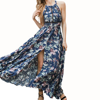 Boho Split Backless Summer Floral Beach Dress Halter Neck Sleeveless Long Elegant Robe Sexy Maxi Womes