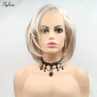 Sylvia Short Bob Synthetic Lace Front Wig Ash Gray Hair Color Natural Wave Side Part Cosplay Wigs For Women Drag Queen Haircut