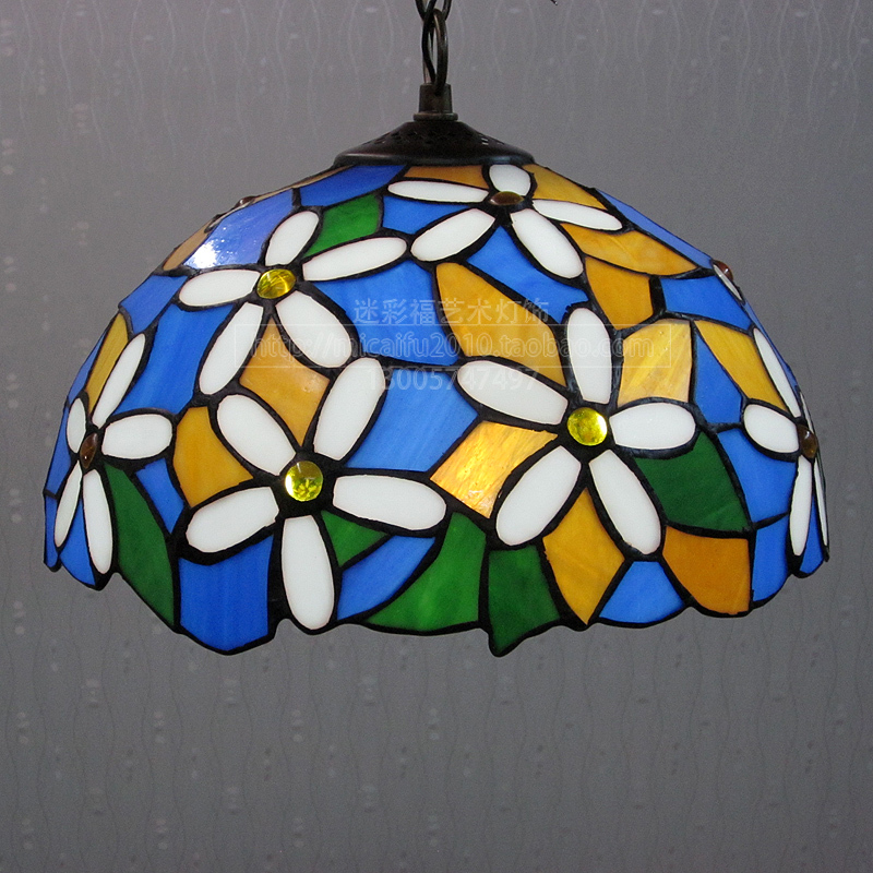 12inch European style village Tiffany flower glass pendant light for restaurant bedroom    Bedside Lamp E27 110-240V 2016 decorative dove design transparent glass pendant light vintage edison light north european style village glass