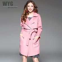 Women Winter Wool Coats 2017 High Quality Noble Full Sleeve Double Layers Open Stitch Long Sleeve Pink Red Loose Coat With Belt