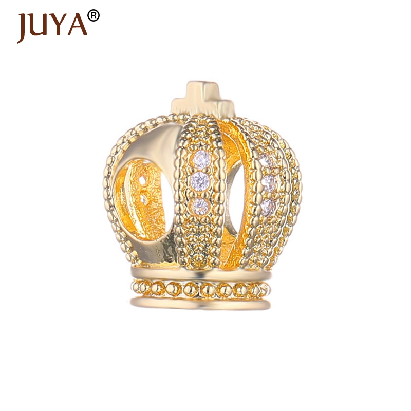 New Designer Copper Metal Micro Pave CZ Rhinestone Big Hole Imperial Crown Beads Fit For DIY Original Bracelets Charms Beads