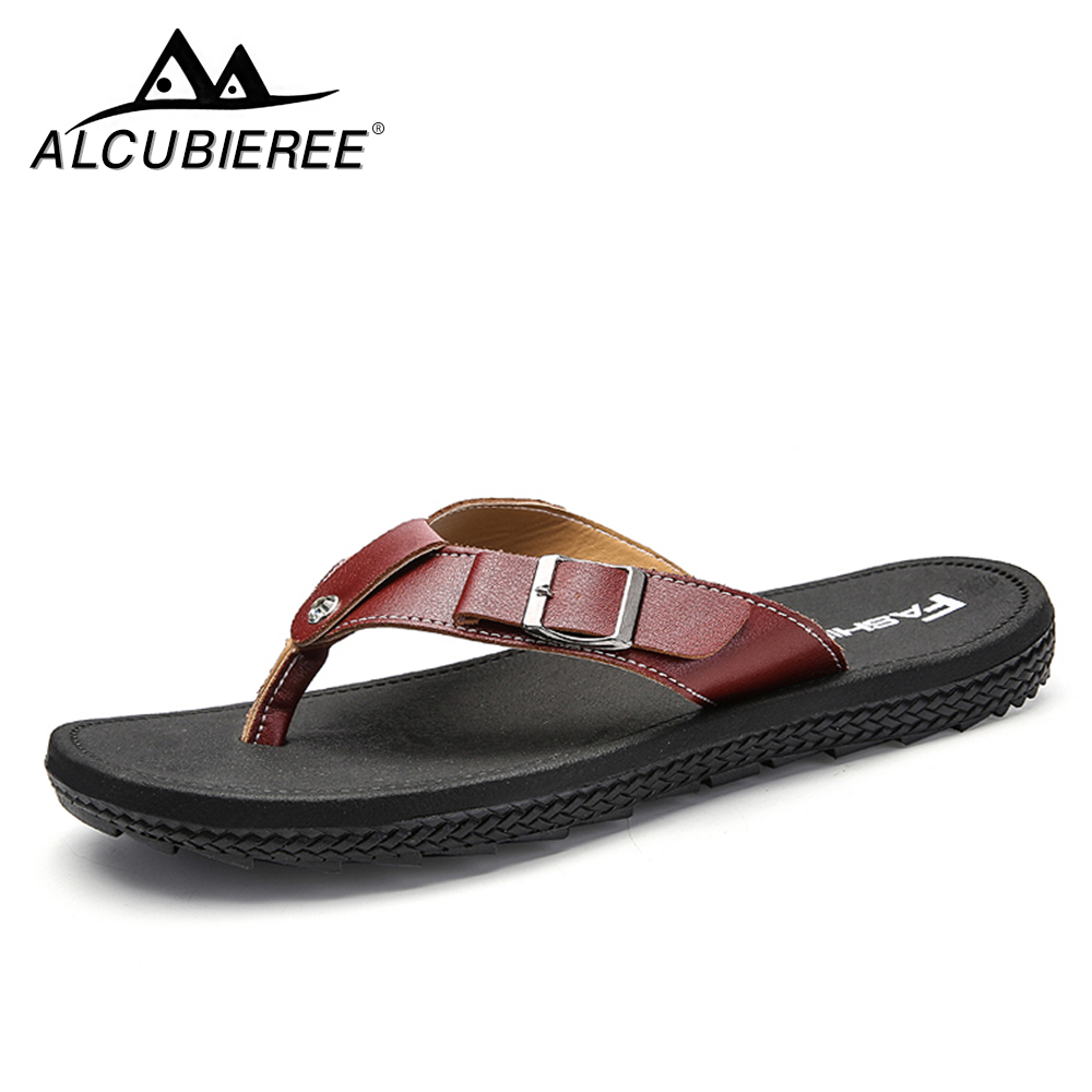 ALCUBIEREE Men's Casual Shoes Summer Beach Breather Sandals Lightweight Antiskid Outdoor Flip Flops  Zapatos Hombre