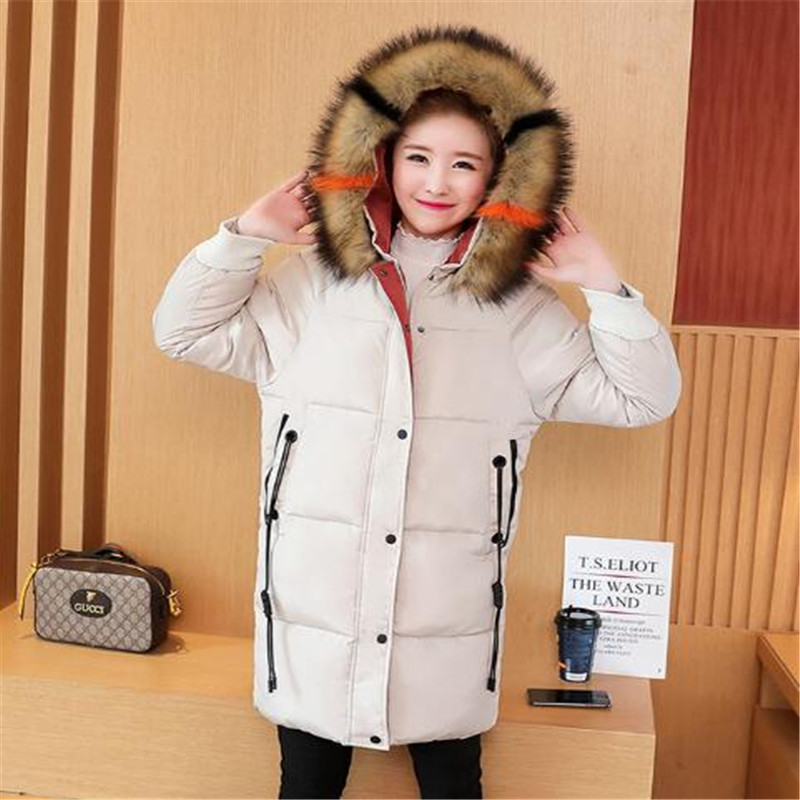 2018 women's extra large collar wear fashion Edition excellent hooded slim body long feather down cotton jacket