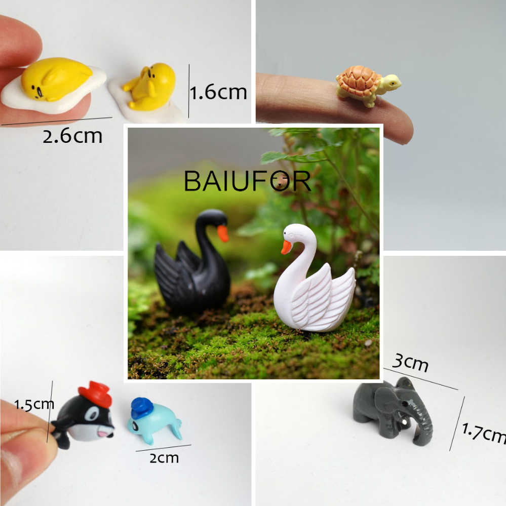 BAIUFOR Mini Animals Miniature Fairy Garden Decor Moss Landscape  Accessories diy Terrarium Figurines dolphin penguin swan bus