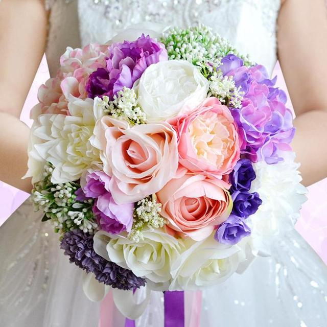Peony Bride Bouquet Vintage Artificial Flower Wedding Bouquet ...