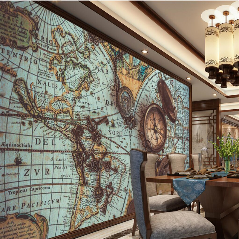 beibehang Custom 3d wall paper retro world map pocket watch wallpaper sofa restaurant living room TV wall decoration painting vienna pocket map