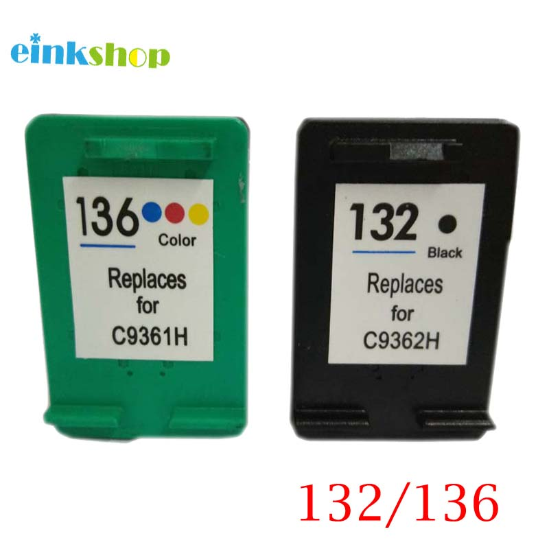 einkshop 132 136 Refilled Ink Cartridge Replacement for hp 132 136 Photosmart 2573 C3183 D5163 1513 Officejet 6213 5443 printer