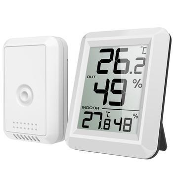 ORIA cyfrowy LCD wewnętrzny termometr zewnętrzny temperatura Mini zdalny termometr termometr z cyfrowym wyświetlaczem LCD Home tanie i dobre opinie Gospodarstw domowych termometry Z tworzywa sztucznego Termometry kuchenne WA10 Temperatura Wilgotność Metrów 2 x AAA 1 5V Alkaline Batteries (Not Included)
