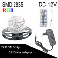 DC 12V RGB LED Strip 5M 300LED 2835 Fita LED Light Flexible Neon Tape Lamp + 3A Power + 44Key Controller For Home Decoration