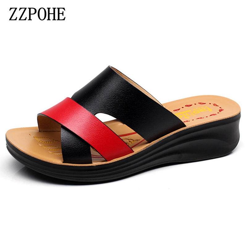 ZZPOHE Summer mother large size soft bottom leather slippers women flat slip on comfortable beach slippers woman fashion shoes zzpohe 2017 summer new woman slippers fashion women flat casual flip flops sandals ladies soft bottom comfortable beach shoes