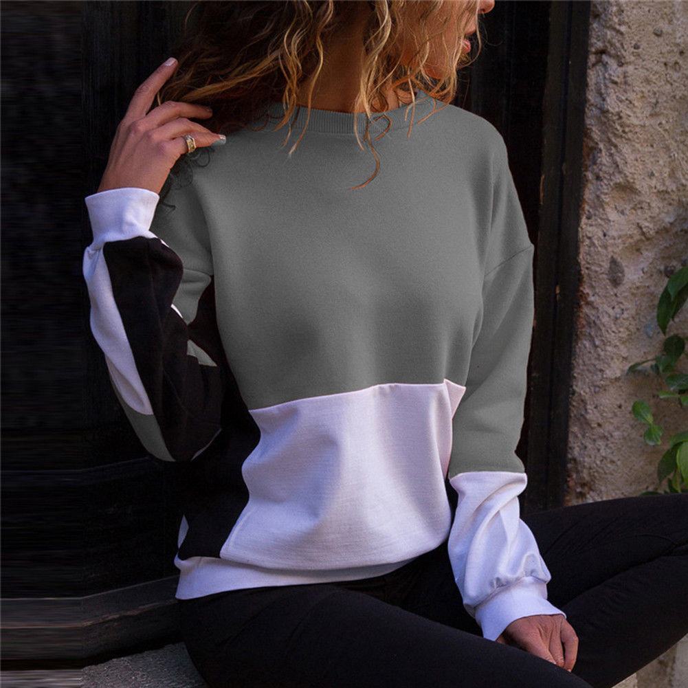 Fashion Womens Long Sleeve Pullover Sweatshirt Autumn Casual Ladies Jumper Tops Patchwork Loose Sweatshirts Pullover Top Clothes