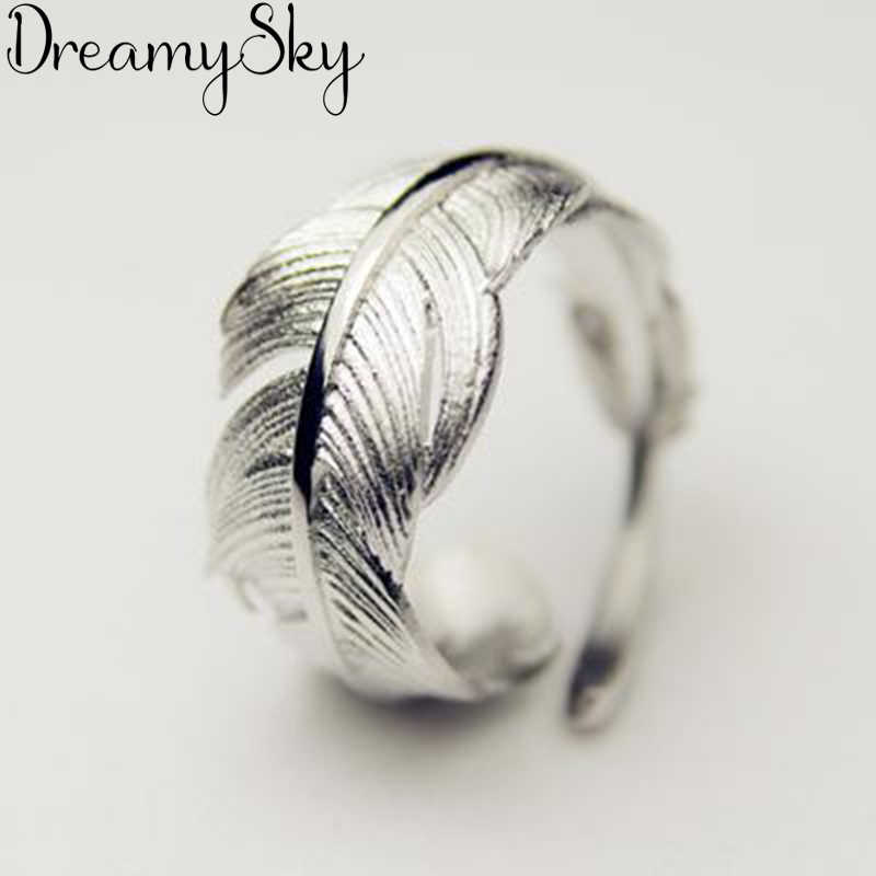 New trendy silver colour feather woman ring