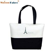 High quality Canvas Eiffel Tower Pattern Girls Shopping Shoulder Bags Handbag Beach