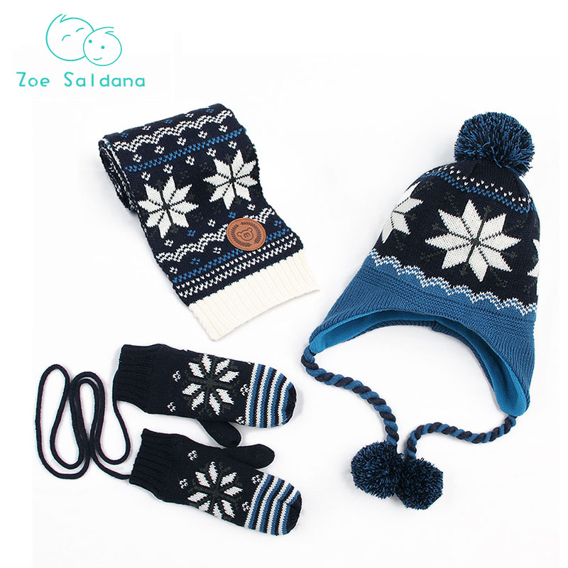 Zoe Saldana 2018 3Pcs/Set Baby Winter Cap+Scarf+Gloves Unisex Baby Boys Girls Cap Newborn Hats Knitted Warm Protects Ear Cap doubchow adults womens mens teenages kids boys girls cartoon animal hats cute brown bear plush winter warm cap with paws gloves page 7