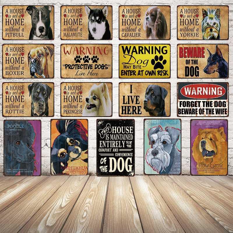 [Kelly66]-B Beware Of Il Cane In Metallo Segno di Latta Poster Complementi Arredo Casa Bar Arte Della Parete Della Pittura 20*30 CM formato y-2113