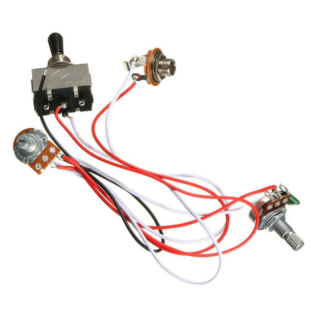 Wiring Harness Volume Tone Jack 3 500k Pots 5 Way Switch For Fender on
