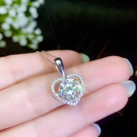 heart shape love confession style crackling moissanite pendant necklace silver fine jewelry shiny better than diamond girl gift