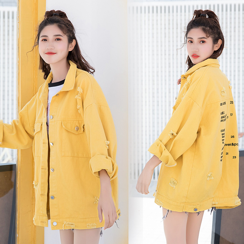 New Stylish 2019 Bomber Cowboy Jacket with Pockets Cotton Windbreaker Women Basic Coats Slim Fashion BF Student Outerwear NO838 Price $59.99