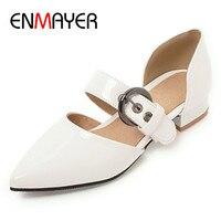 ENMAYER/туфли лодочки на низком каблуке женские белые туфли с ремешком и пряжкой повседневные летние туфли лодочки с острым носком, большие раз