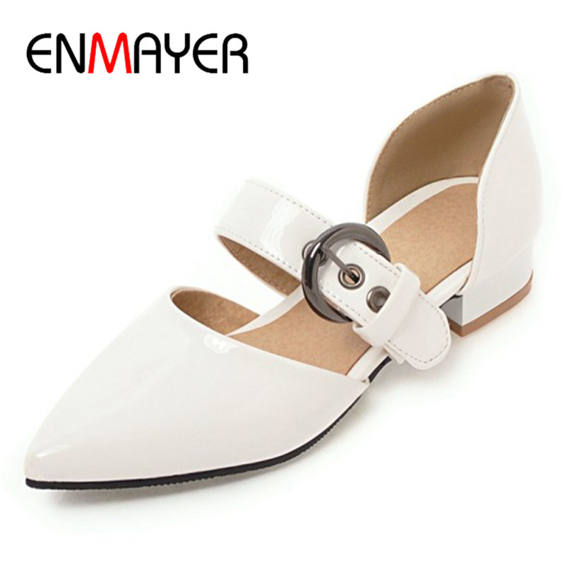 ENMAYER Low Heels Pumps Shoes Woman Buckle Strap White Shoes Casual Large Size 34-43 Pointed Toe Summer Pumps Womens цена