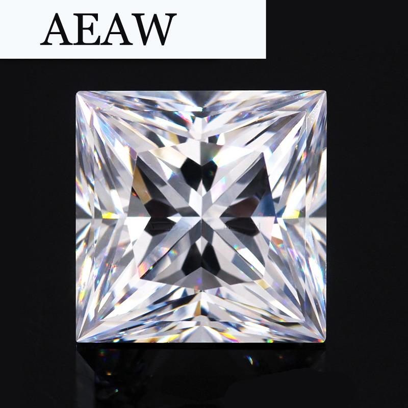 AEAW 1,25 карат 6 мм * 6 мм F Цвет Принцесса Cut Муассанит лаборатория алмазов свободно камень Тесты положительный