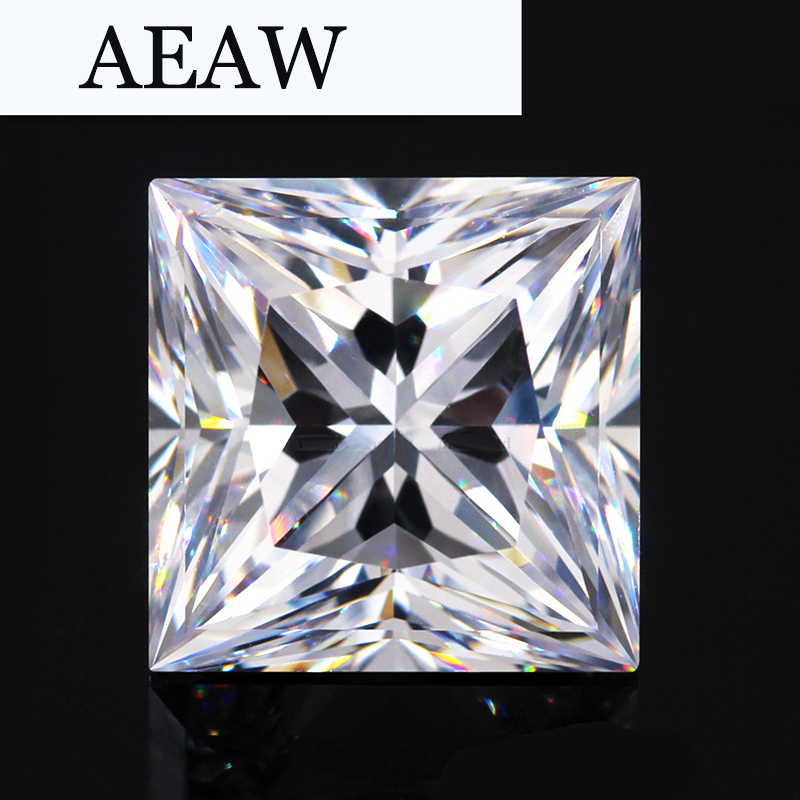 AEAW 1.25 Carat 6mm*6mm F Color Princess Cut Moissanite Lab Diamond Loose Stone Test Positive helon solid 18k 750 rose gold 0 1ct f color lab grown moissanite diamond bracelet test positive for women trendy style jewelry