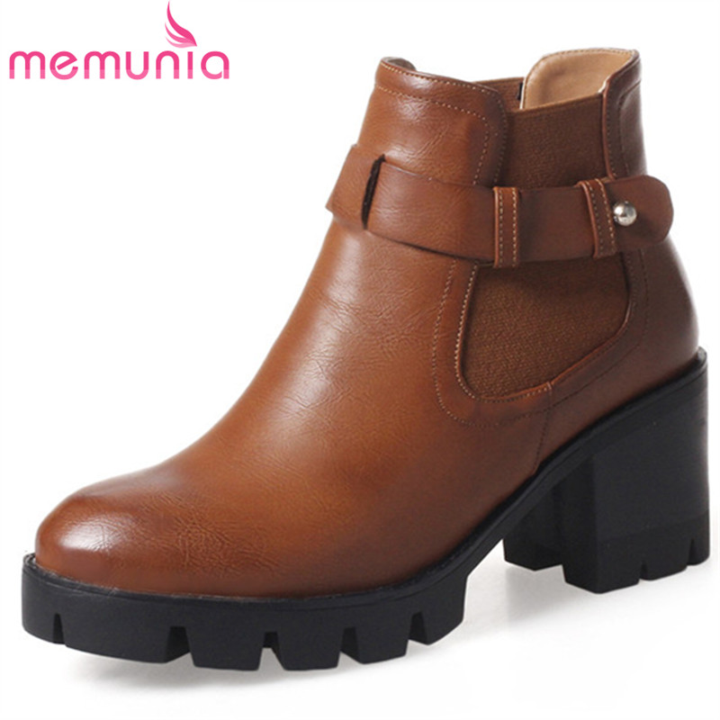 MEMUNIA Two colors shoes woman in spring autumn ankle boots for women fashion shoes platform high heels boots big size 34-43