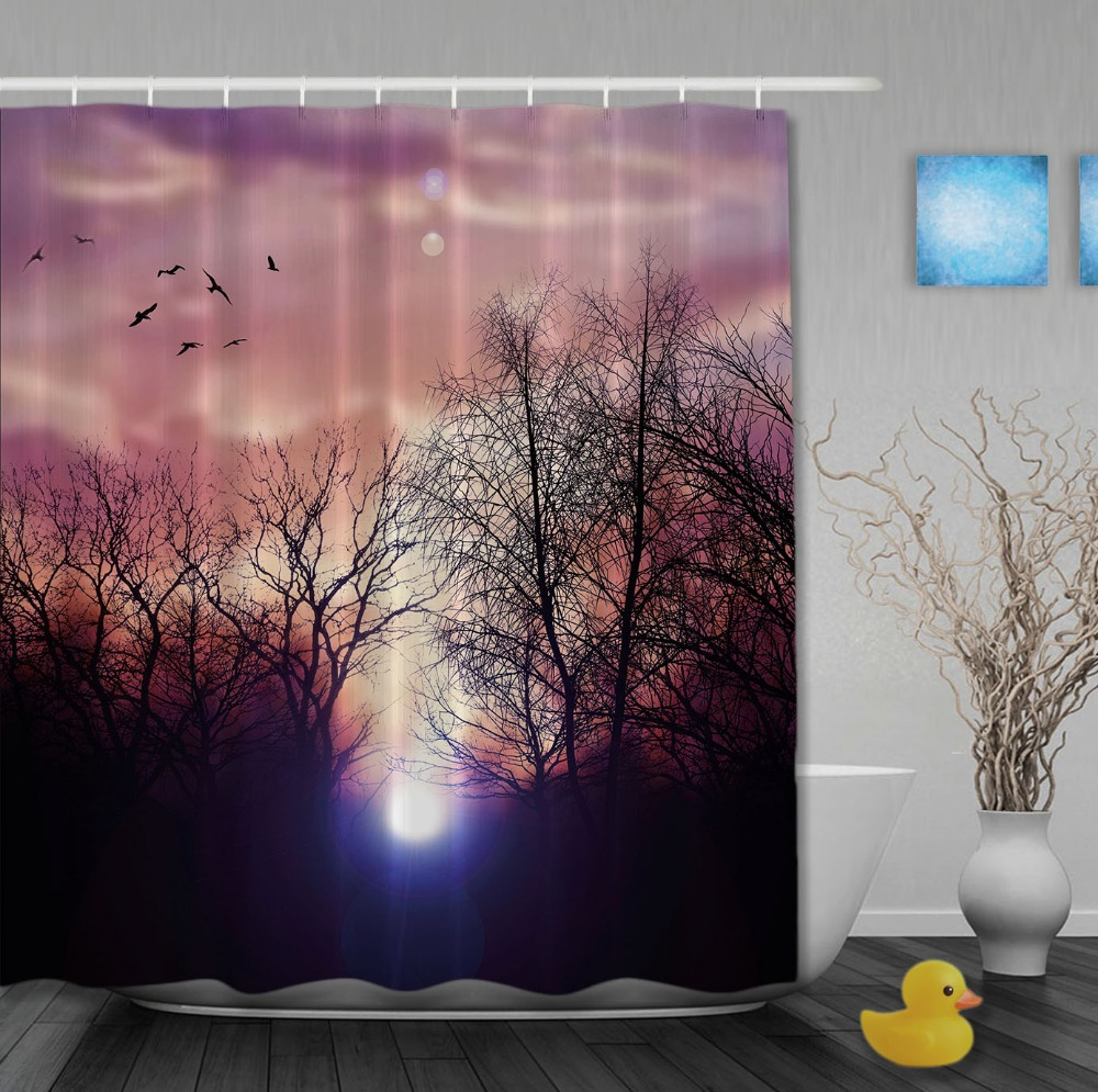 Sunflower shower curtain hooks - Custom Birds Back To Nest Lush Forest Purple Shower Curtains Waterproof High Quality Home Decrations With Hooks Bathroom Curtain