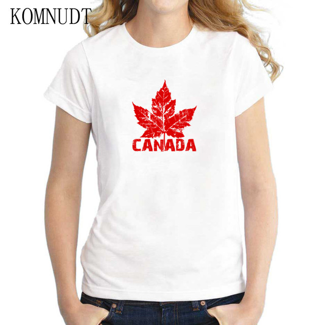 Komnudt Summer Women T Shirt Red Printed Maple Leaf Canada Flag