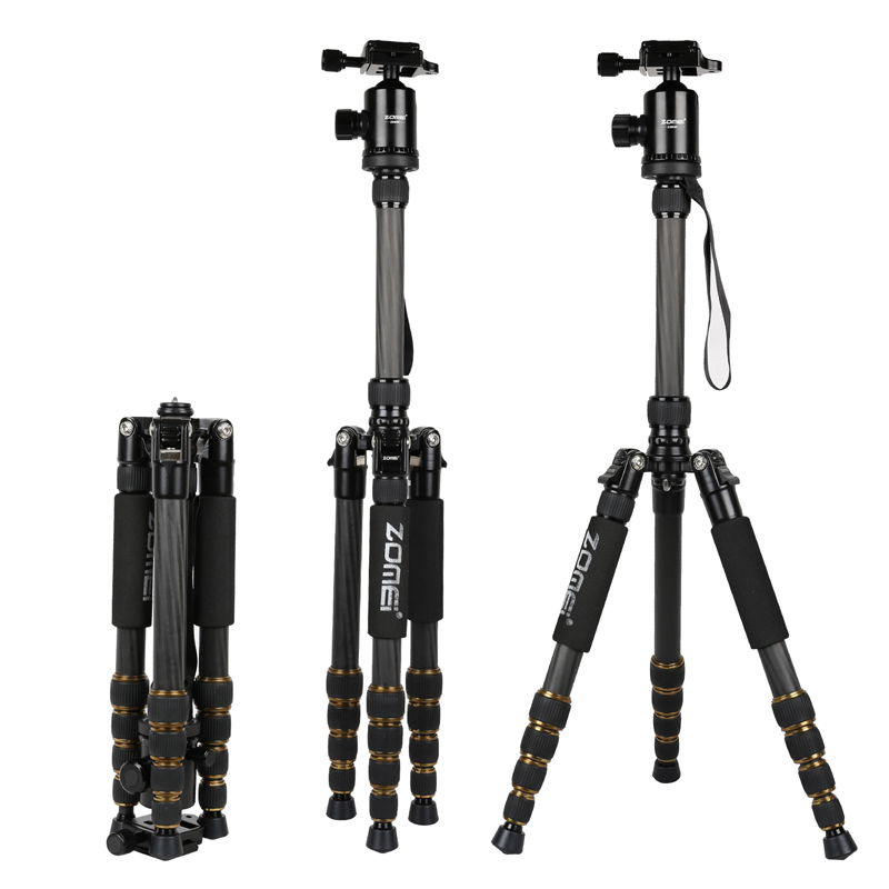 F16303 ZOMEI Z699C Carbon Fiber & Alloy Portable Tripod with Ball Head & Carry Bag Compact Travel for DSLR Camera Camcorder ashanks a25c professional loading 10kg carbon fiber portable camera tripod with ball head and carry bag better than q666c