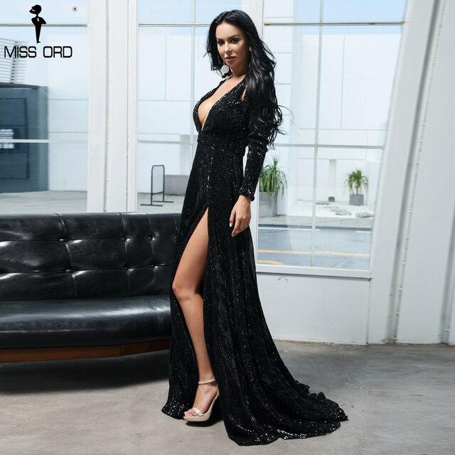 Missord 2019 Women Sexy Deep-V Long Sleeve High Split Dresses  Female Solid Color Sequin  Dress FT9707-1