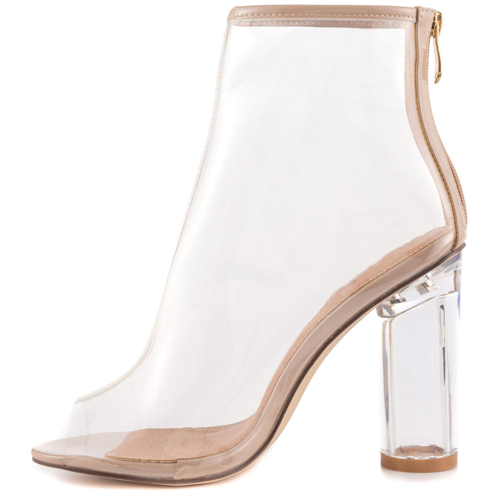 See Through Jelly Ankle Boots For Women High Heel Boots -6394