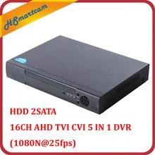 New 16CH AHD DVR 1080N 25fps CCTV Video Recorder Camera Network Onvif P2P 5 IN 1 HD NVR For AHD TVI CVI IPC Camera HDD 2SATA