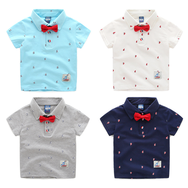 03d9e58867e Male child polo shirt baby bow tie top 2015 children s clothing thin summer  child short-