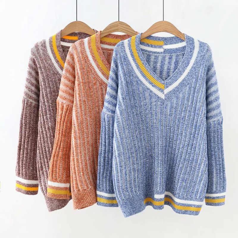 K6 осень-зима Свободные свитеры плюс Размеры женская одежда модные свободные вязаные свитера и пуловеры 18186