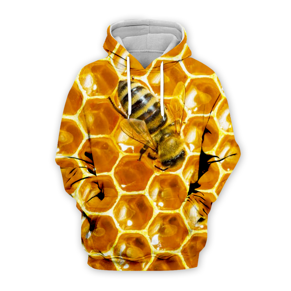 Animal Bee Print Hoodies 3D Hooded Men Women Hoody Streatwear Sweatshirt Harajuku Tracksuit Anime Pullover Coat Dropship BEE0002