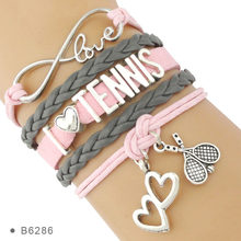 Infinity Love Tennis Racket Racquet Mom Gift for Tennis Player Jewelry Drop Shipping Wrap Bracelets for Women(China)