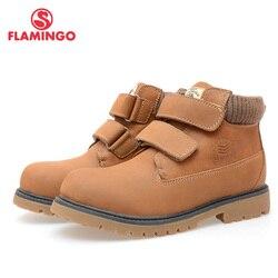 FLAMINGO qualità moda inverno scarpe in pelle per bambini per il ragazzo 2015 nuova collezione anti-slittamento stivali con lana naturale DC3315