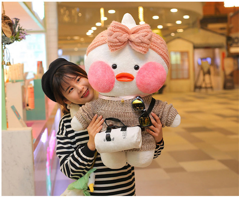 80cm Lalafanfan Plush Stuffed Toys Doll Kawaii Cafe Mimi Yellow Duck lol Change Clothes Plush Toys Girls Gifts Toys for Children 14
