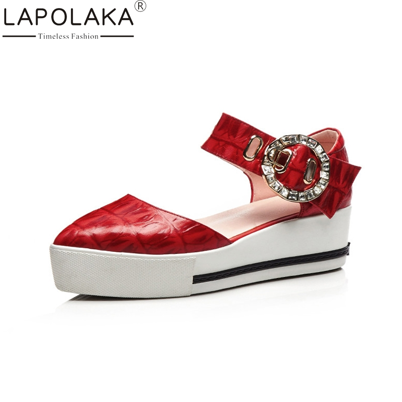 LAPOLAKA New women's Genuine Leather Ankle Strap Solid Wedges Crystal Platform Shoes Woman Casual Summer Sandals Big Size 33-40 vzehcu new jelly sandals summer shoes soft woman wedges gladiator sandals casual nest platform shoes woman plus size 36 40 2e13