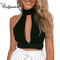 TT276 Women Bow Lace Chiffon Patchwork High Neck Backless Halter Deep V Choker Neck Crop Top