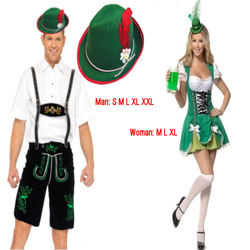 Couples Oktoberfest  Lederhosen with Suspenders Costume For Man Woman Halloween Party Waiter Maid Costumes Size S M L XL XXL