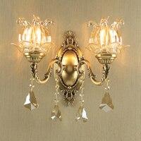 Europese Koperen Wandlamp Kristallen Lamp Amerikaanse Woonkamer Lichten Slaapkamer Bedlampje Retro Creatieve Trappen Gangpad Lichten