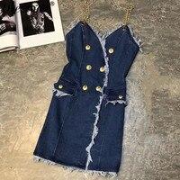 Высокое качество платье из джинсовой ткани для женская летняя обувь пикантные Платье без бретелек Мода Жан платье