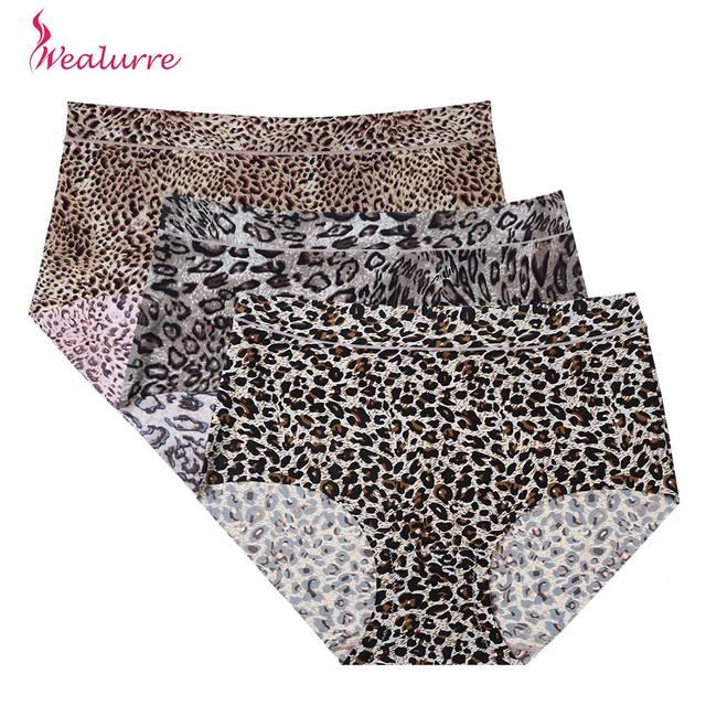 Mulheres de Lingerie Sem Costura Boyshort Calcinha Leopardo alongamento  Invisível Plus Size XXXL Ultra-fino 4762239b65f