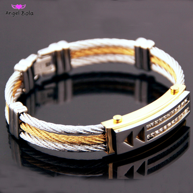 8c0ef9f9a1e1 Hombre creativo 3 fila de alambre de cadena pulsera casuales de los hombres  de acero inoxidable