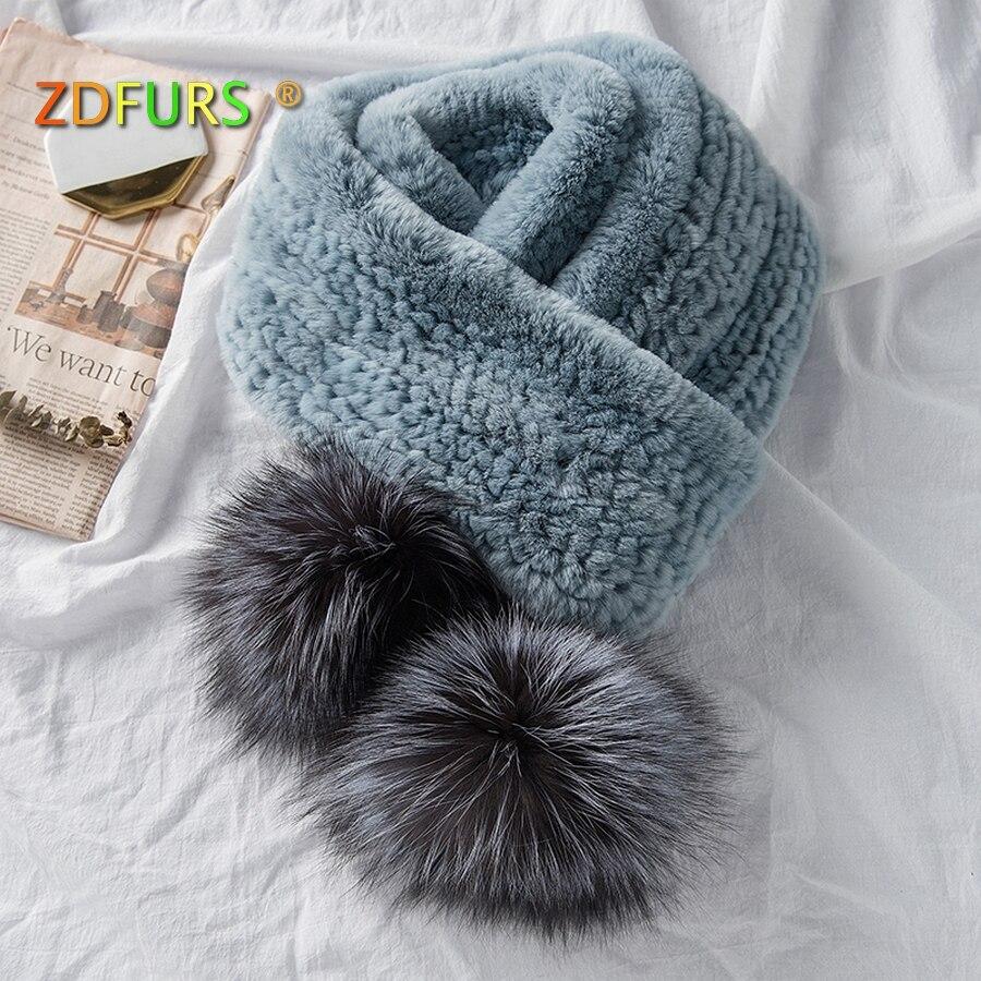 ZDFURS * 2018 Новые популярные Для женщин натуральным мехом шарф из натурального меха кролика рекса шарфы longThick теплые зимние Silver Fox меховой мяч