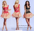 Latest Designs Red Black Lace Cocktail Party Dress Two Piece Short Dress to Party Champagne Tulle Vestidos Curtos Para Festa